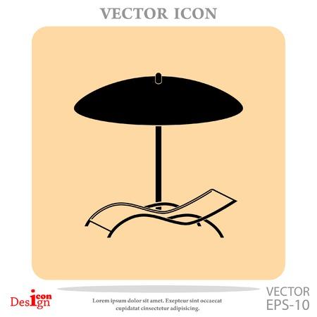 chaise longue: chaise longue under umbrella vector icon