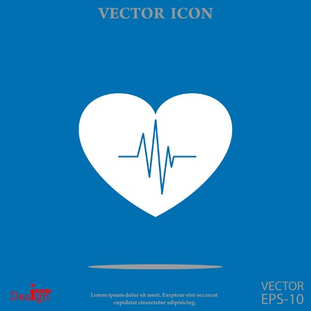 patient chart: cardiology vector icon with heart and cardiogram Illustration