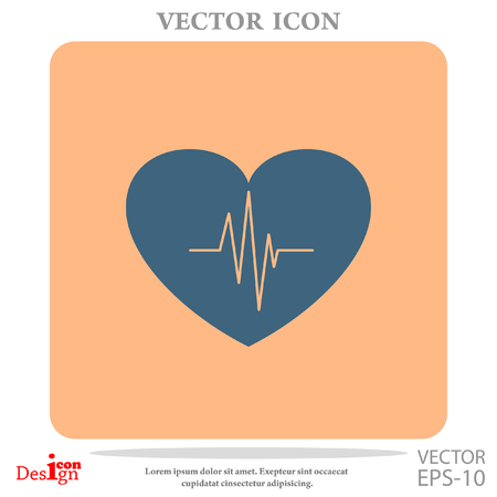 cardiogram: cardiology vector icon with heart and cardiogram Illustration