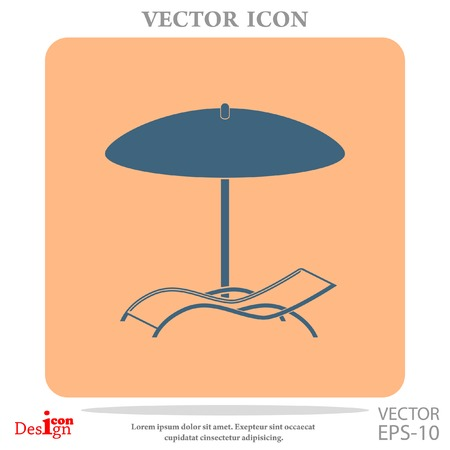 lounge chair: chaise longue under umbrella vector icon