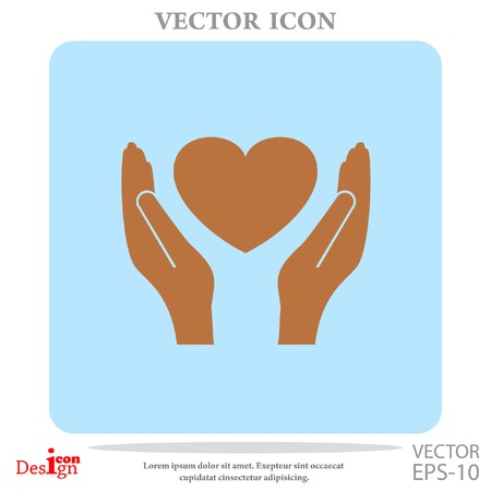 heart in hand vector icon Illustration