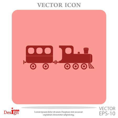 steam iron: vintage train vector icon