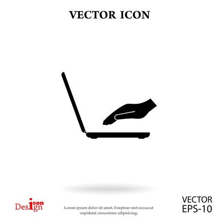 heart monitor: laptop with hand vector icon Illustration