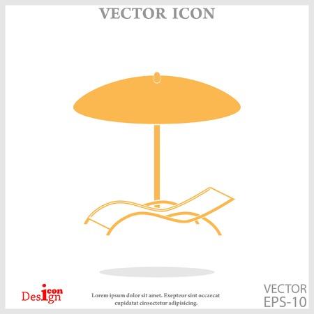 chaise longue under umbrella icon