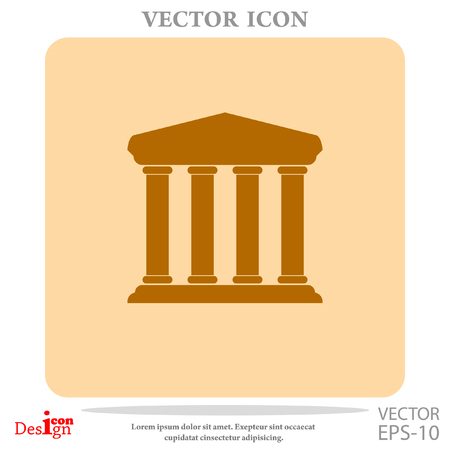 roman pillar: bank building vector icon