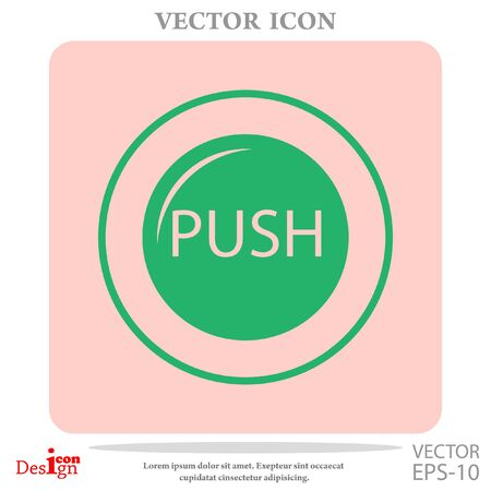 push: Push button vector icon on pink background