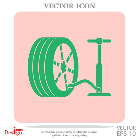 pump and tire vector icon Çizim