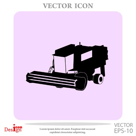 Agricultural combine vector icon.