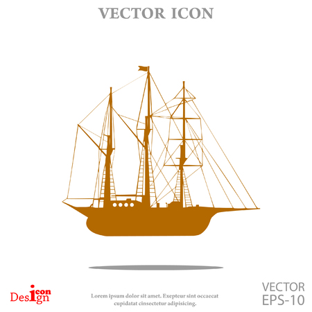 Sailing ship vector icon Illustration
