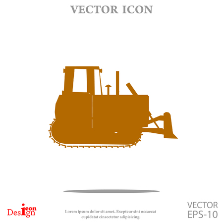 earth mover: bulldozer vector icon Illustration