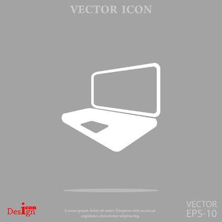open notebook: laptop vector icon Illustration