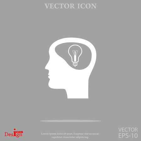 brain illustration: idea and man vector icon Illustration