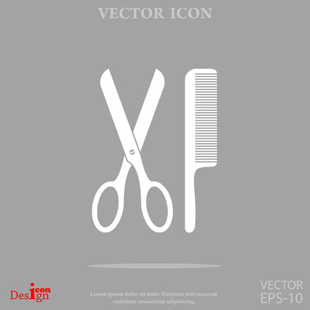 Scissors and comb vector icon.