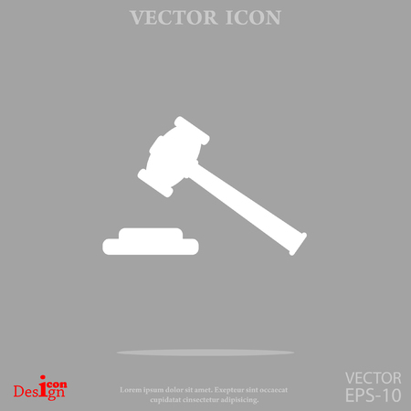 courthouse: Hammer judge vector icon.