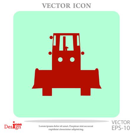 grader: bulldozer vector icon Illustration