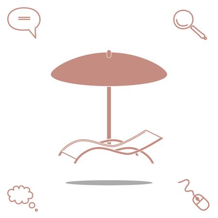 chaise longue under umbrella vector icon
