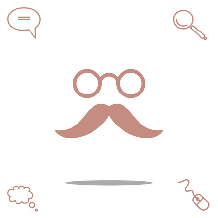 mustache and eyeglasses vector icon