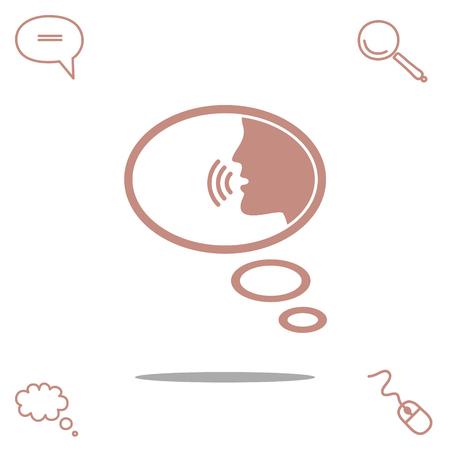 aloud: Talking vector icon Illustration