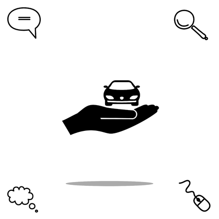 select: car with hand vector icon