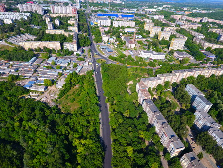 dnepr: Aerial view. Houses, railway, road and traffic in the city Dnepr, Ukraine.