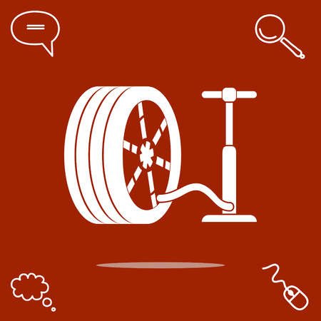 Pump and tire vector icon