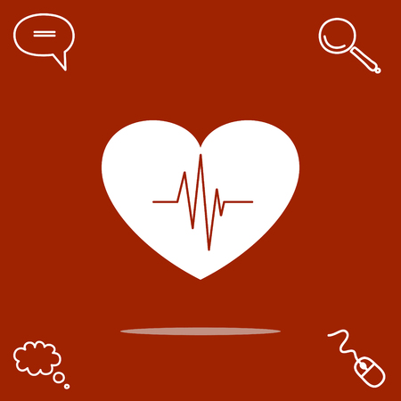 Cardiology vector icon with heart and cardiogram Illustration