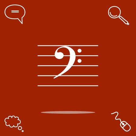Bajo música clave vector icono