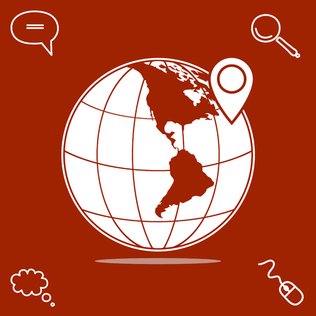 marker on globe map vector icon
