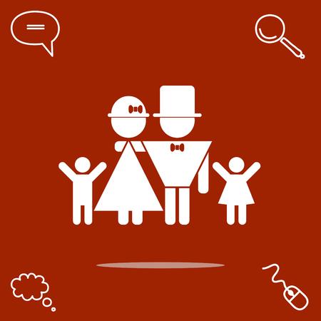 lucky family: father, mother, son, daughter vector icon