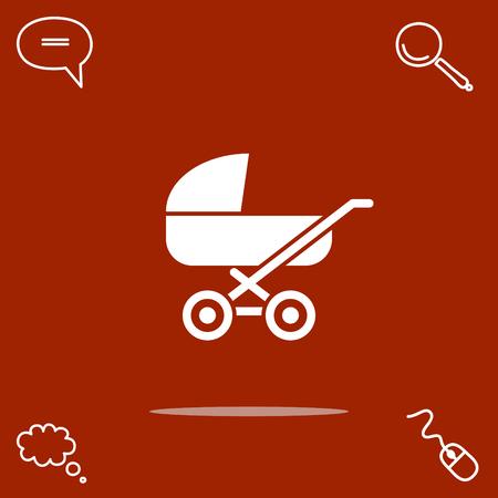 child care: pram vector icon