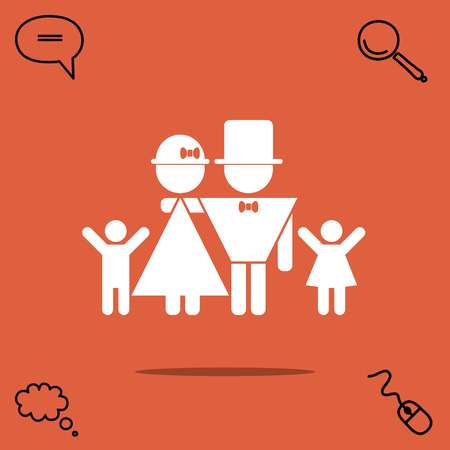 child care: Lucky family: father, mother, son, daughter vector icon Illustration