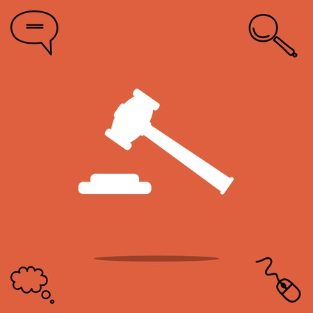 Hammer judge vector icon Illustration