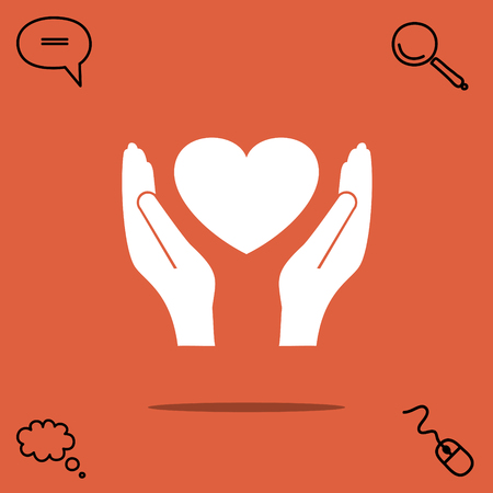 give: Heart in hand vector icon