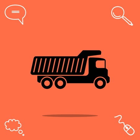 Dump truck vector icon Illustration