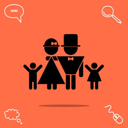 baby and mother: Lucky family: father, mother, son, daughter vector icon Illustration