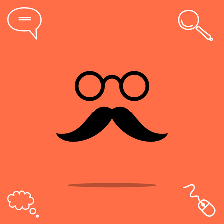 whiskers: Mustache and eyeglasses vector icon