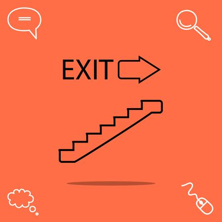 upstairs: Exit vector icon Illustration