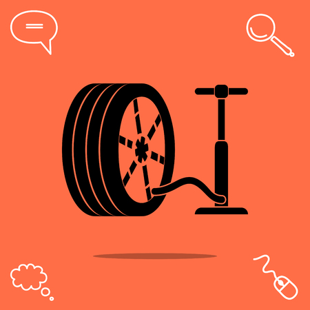 pump and tire vector icon Illustration