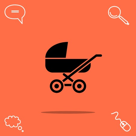 parenthood: Stroller vector icon Illustration