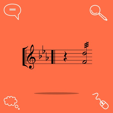 autograph: music vector icon Illustration