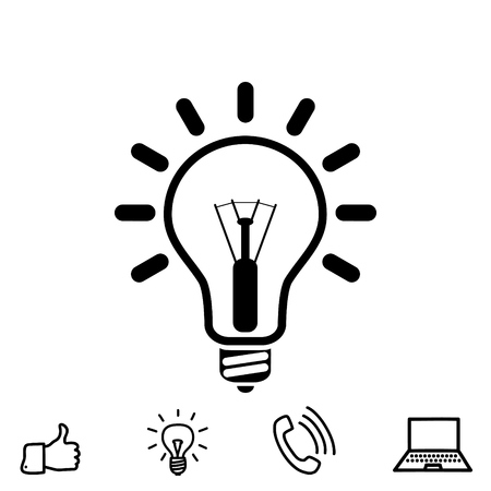 invent: Light bulb vector icon Illustration