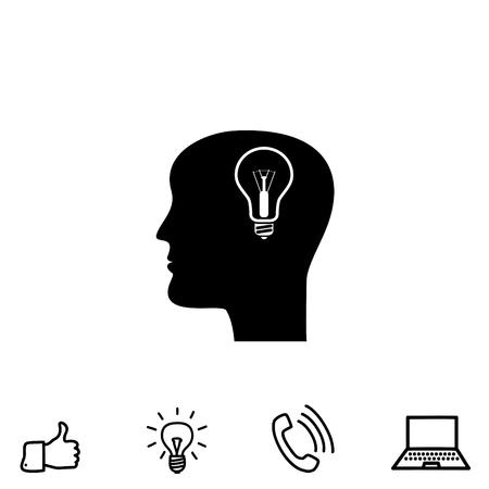 pictograph: An idea and man vector icon