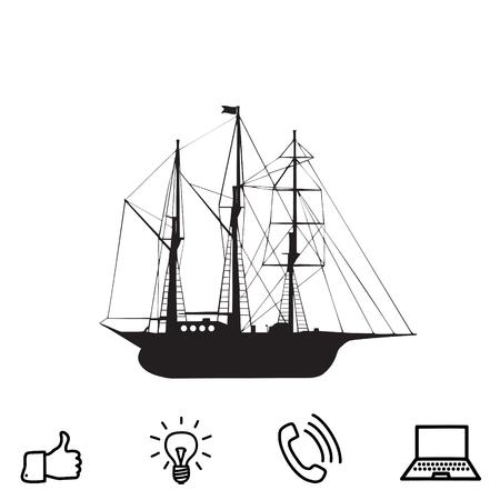sailing ship vector icon