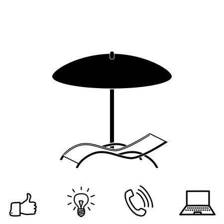 Chaise lounge under umbrella vector icon