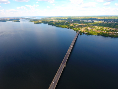 Aerial view. Bridge and river in the city Dnepr, Ukraine. Stock Photo