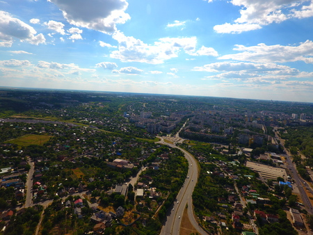 Aerial view. Houses and roads in the city Dnepr, Ukraine. Stock Photo