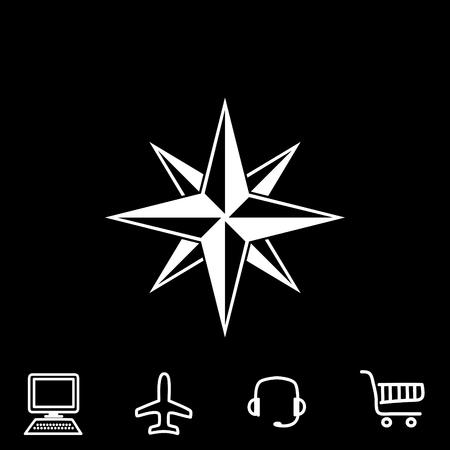 compass rose: Compass vector icon. Vector illustration. Illustration