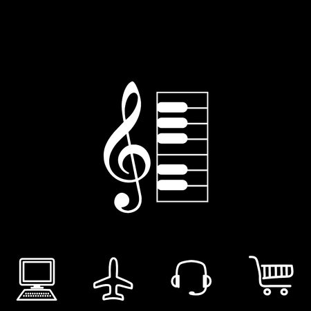 Music key and keyboard vector icon. Vector illustration.