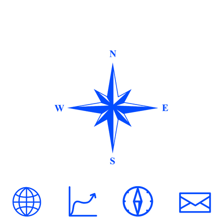 latitude: wind rose vector icon Illustration
