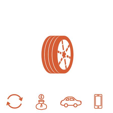 aluminum: wheel vector icon Illustration